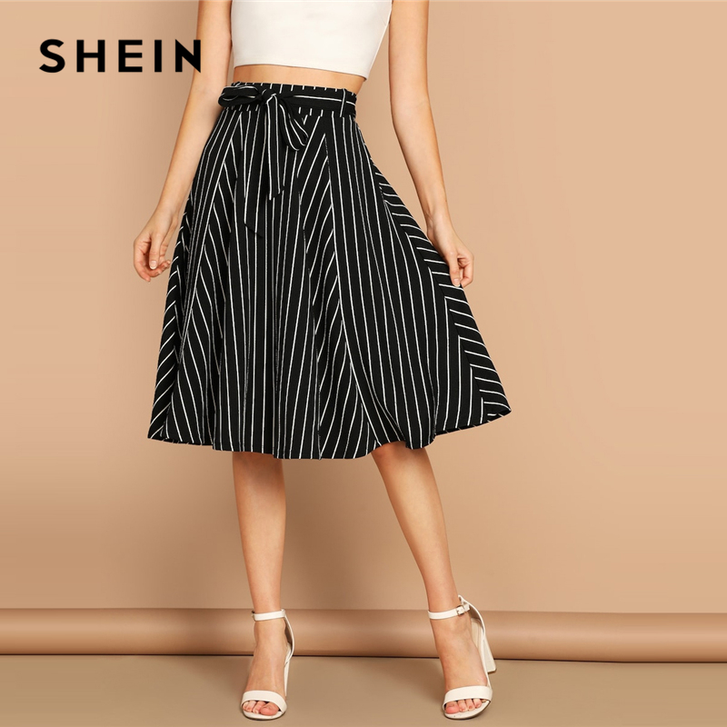 SHEIN Boho Black and White High Waist Striped Belted Shift A Line Skirt Womens 2019 Spring Elegant Casual Streetwear Midi Skirt 1