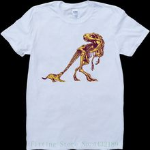 Dog And T - Rex Skeleton Funny White , Custom Made Men's T Shirt New 2019 Hot Summer Casual T-shirt Printing(China)