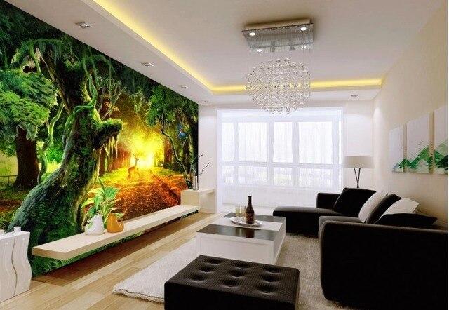 Boom In Woonkamer : 3d muurschilderingen behang sunshine forest grote boom woonkamer