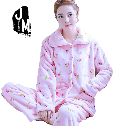 6c21cecfcd Detail Feedback Questions about women flannel thick pajamas coral velvet  home service long sleeved autumn and winter size winter warm suit lovely  pyjamas ...