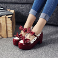 Womens Comfortable Platform Round Toe Lolita Shoes Cute Bowtie Chunky Heel Medium High Mary Jane Shoes
