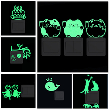 Glow in the Dark Wall Sticker Cartoon Luminous Stars Moon Cat Butterfly Switch Sticker Decal for Kids Room Decoration Home Decor