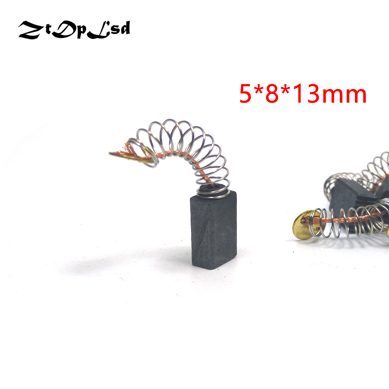 ZtDpLsd 2 Pcs/Pairs Mini Drill Electric Grinder Replacement Carbon Brushes Spare Parts for Electric Motors Rotary Tool 5*8*13mm dmiotech 20 pcs electric drill motor carbon brushes 10mm 11mm 13mm 17mm 6mm 7 5mm 7mm 8mm 9mm