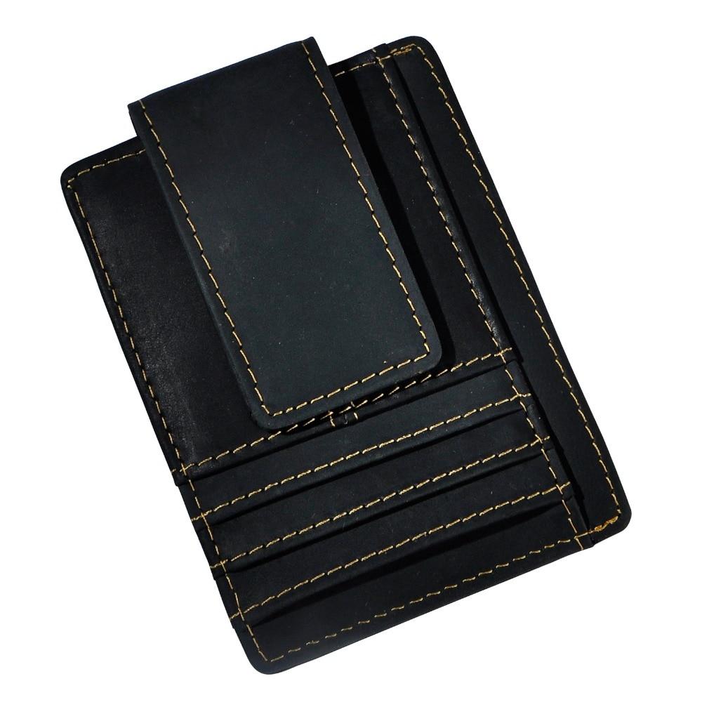 Bescheiden Männlichen Original Leder Designer Mode Schlanke Brieftasche Fronttasche Magnetische Geldklammer Mini Kreditkartenetui Geldbörse Für Männer 1015b Fabriken Und Minen
