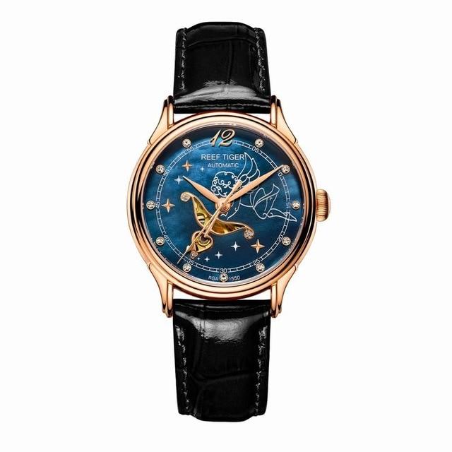 R eefเสือรักSerier RGA1550หรูหรานาฬิกาของผู้หญิงเลดี้ข้อมือนาฬิกาRose G Oldโทนแม่ของมุกแบบDialดูหนังสาย-ใน นาฬิกาข้อมือสตรี จาก นาฬิกาข้อมือ บน   3