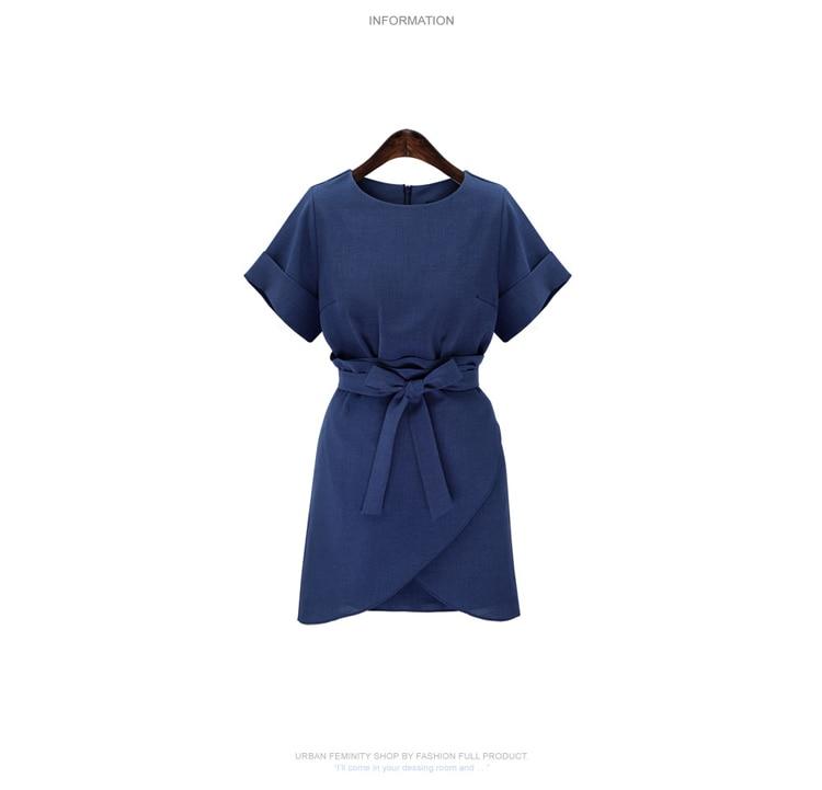 Colorée Femmes Cx019navy Mm Manches Robe Nouveau Courtes Et Taille Style Solide Britannique Vêtements Printemps Graisse Blue Moulante D'été Mince De 2019 Grande kPnwO80