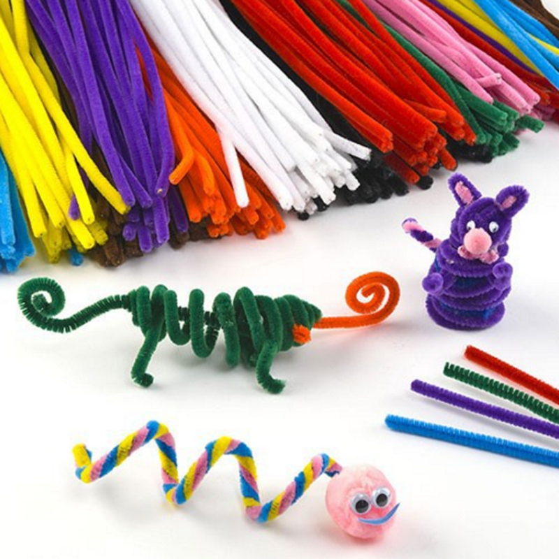 Animal Pom Poms 100 /& 50 Stripey Pipe Cleaners 30cm x 6mm in 10 Assorted Colours