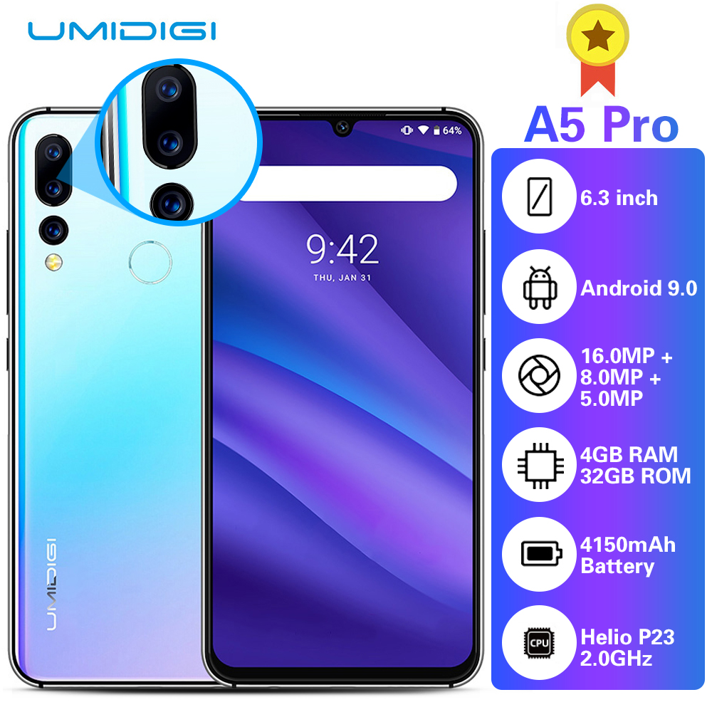 UMIDIGI A5 PRO 4G Smartphone 6.3 inch FHD+ Android 9.0 Cellphone 4GB RAM 32GB ROM 16.0MP+8.0MP+5.0MP Rear Camera Mobile Phone