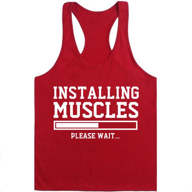 2018 Tank Top Men Sleeveless Shirt Bodybuilding Stringer Fitness Men's Cotton Singlets Muscle Clothes Workout Vest