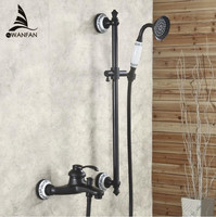 Bathtub Faucets Brass Dual Handle Bath&Shower Faucet Wall Mounted Oil Rubbed Bronze Crane for Bath With Handheld Showers SY 013R
