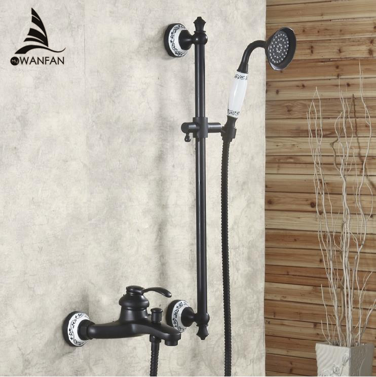 Free shipping Black antique brass dual handle deck mounted bath and shower font b faucet b