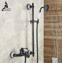 Envío gratis Negro latón antiguo manija doble baño y grifo de la ducha con ducha de mano montado cubierta SY-013R