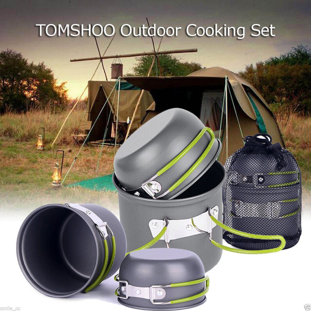 лучшая цена 4pcs/set portable Outdoor Tableware Camping Hiking traveling Cookware Cooking Picnic Bowl Pot Pan Set for 2-3 person+net bag
