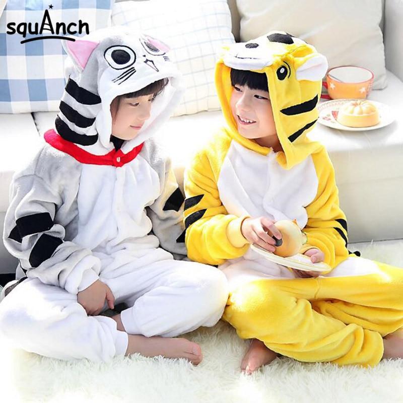 Chi Tigger Onesie Cartoon Animal Kigurumis Children Boy Girl Pajama Autumn Winter Flannel Overall Kawaii Party Home Sleep Wear