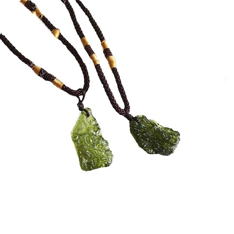 NAPOLN Charm Meteorite Necklace Women Men Green Moldavite Necklace Sweater Chain Pendant Long Unique Necklace Dropshipping(China)