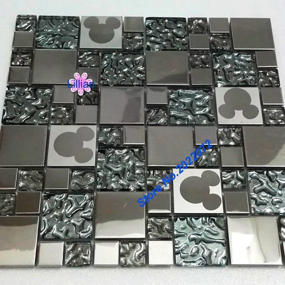 Kryszta Metalu Mozaiki Szklanej P Ytki Lustro Materia W Budowlanych Mickey Projekt P Ytki Cienne Deco Siatki Kuchnia Backspla