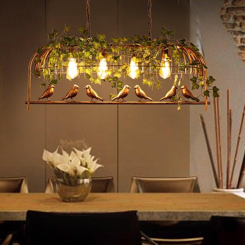lowest price Vintage Bird Pendant Light Iron American Industrial LOFT Bar Cafe Personality E27 Decor Hanging Aisle Nordic Lamp birdcage lamp