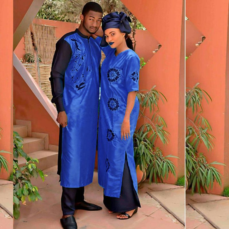 H&D 2019 African Clothes Traditional Dresses For Couples For Men And Women Costume Bazin Riche Embroidery Design Dashiki Robe