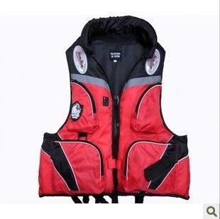 Fishing vest multifunctional life vest red life jacket belt whistle