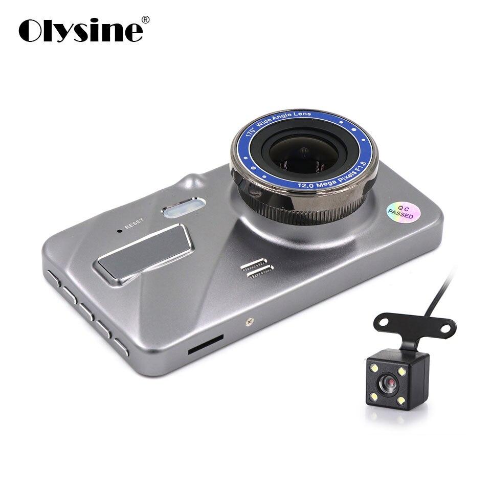 Olysine 4 Polegada Full HD 1080 P Câmera Do Carro DVR de Lente Dupla Condução Gravador de Vídeo Traço Cam IPS Tela Dashcam auto Registrator