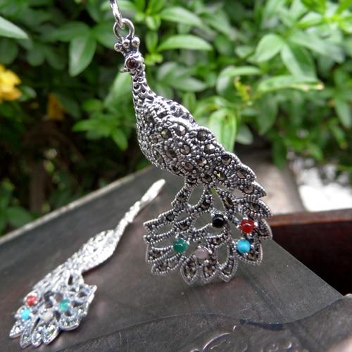 925 perak murni anting warnawarni thai perak vintage peacock earrings 23d1037ddd