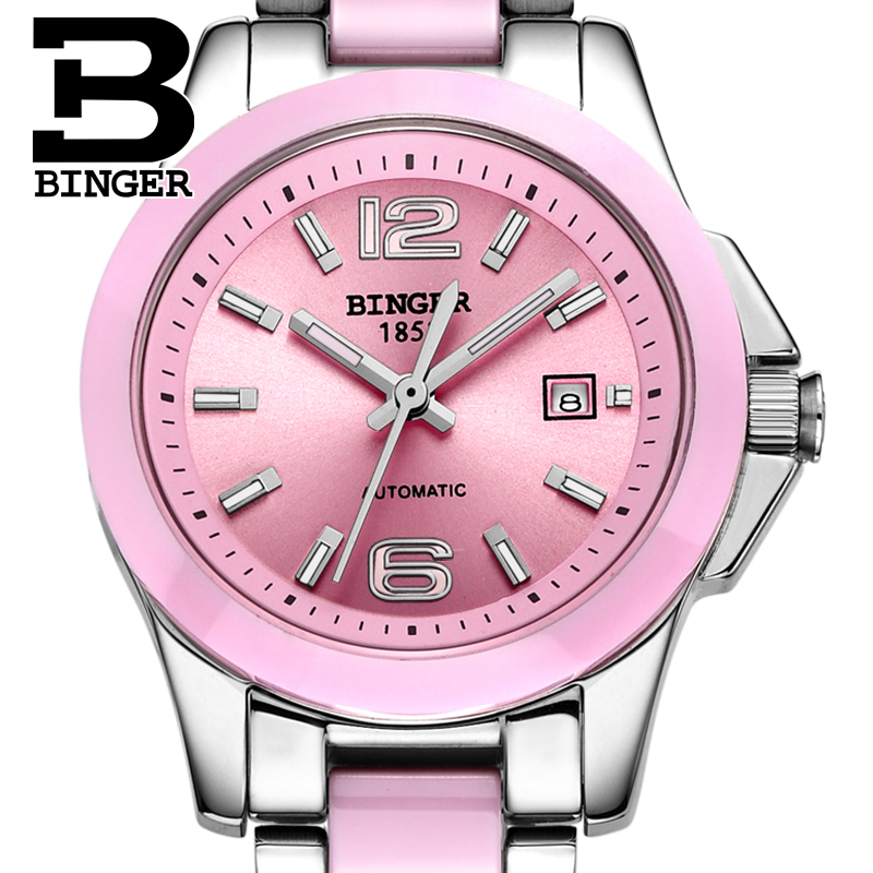 Genuine Switzerland BINGER Women automatic mechanical self-wind sapphire watch fashion female form ceramic fashion waterproof binger genuine gold automatic mechanical watches female form women dress fashion casual brand luxury wristwatch original box