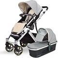 Conjunto Carrinho de Bebê alcofa Pode Se Sentar e Deitar Alta Paisagem Buggy Pram Do Transporte de Bebê de Dobramento Portátil