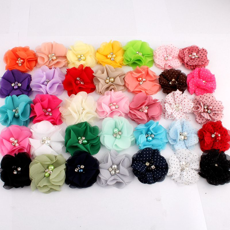 """120PCS 2"""" 35 Colors Cute Chic Chiffon Flowers With Rhinestone Pearl Fabric Hair Flower With Clips For Girls Hair Accessories"""