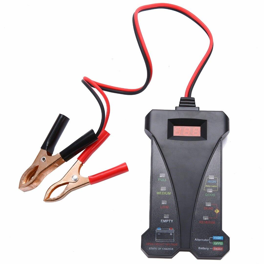 12 V Intelligent Numérique Batterie LED Affichage Testeur Voltmètre Alternateur Analyseur Voiture Bateau Moto De Diagnostic Outils Noir dans Batterie Testeurs de Automobiles et Motos