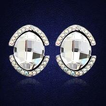 Новые роскошные овальные серьги гвоздики с кристаллами Сваровски