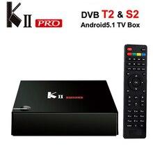 Nowy Koid KII PRO DVB-S2 DVB-T2 Odtwarzacz Multimedialny 17.0 Amlogic S905 Quad-core 2G/16G Android 5.1 Tv Box Dual WiFi Bluetooth 4.0 UHD 4 K