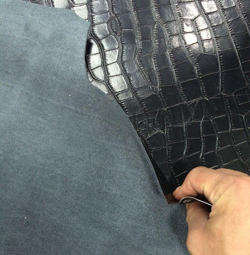 Nero Genuino spaccato della mucca pelle di coccodrillo goffrato vendita da tutto il pezzo - 4