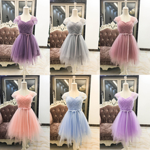 Bridesmaid Dresses Short Dress Short Sleeves Criss-Cross Ball Gown Mini Dress wedding Party Prom Dress Elegant Elastic Back white suede criss cross back mini slip dress