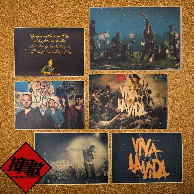 coldplay viva la vida rock and cool band kraft paper poster retro