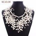 2017 nova luxury choker mulheres colar bib conjunto de jóias de casamento imitação de pérolas borla colares declaração & pingentes