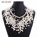 2017 nuevo lujo choker collar de perlas de imitación de la borla de las mujeres cluster bib declaración de collares y colgantes joyería de la boda