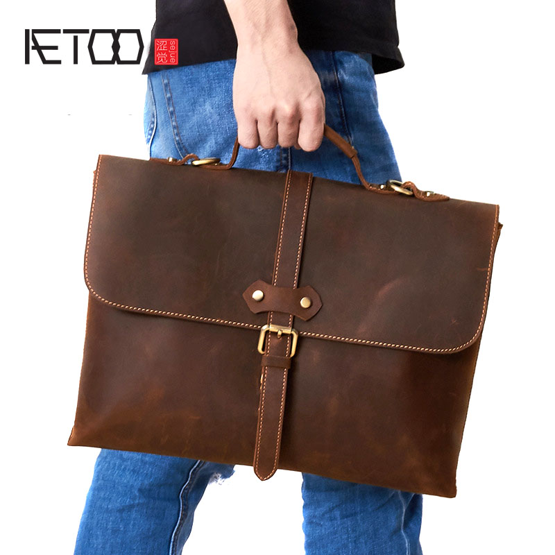AETOO Europe and the United States selling crazy leather men's briefcase retro fashion business men's leather handbag shoulder b europe and the united states style first layer of leather lychee handbag fashion retro large capacity solid business travel bus