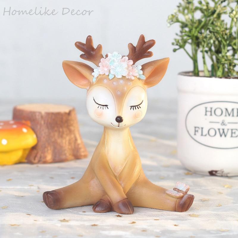 1pc Cartoon Deer Animal Model Figurine Home Garden Car Decoration Accessories Flower Resin Sika Deer Miniature Ornament