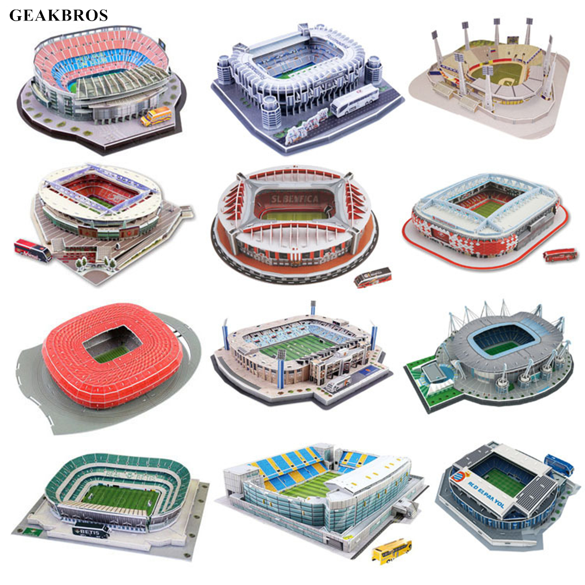 Kids 3D Three-dimensional Puzzle World Football Stadium Baby Puzzle DIY Spell Insert Toy Learning Educational Games Toys Gift