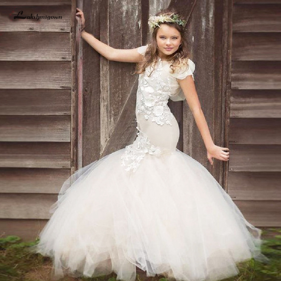 Lakshmigown Mermaid   Flower     Girl     Dresses   2019 Lovely Pageant Gowns Kids Primera Comunion Party   Dress   Short Sleeve Vestido daminha