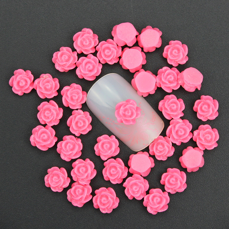 Blueness 50pcslot 12 Colors 3d Resin Rose Flowers Design Nail Art