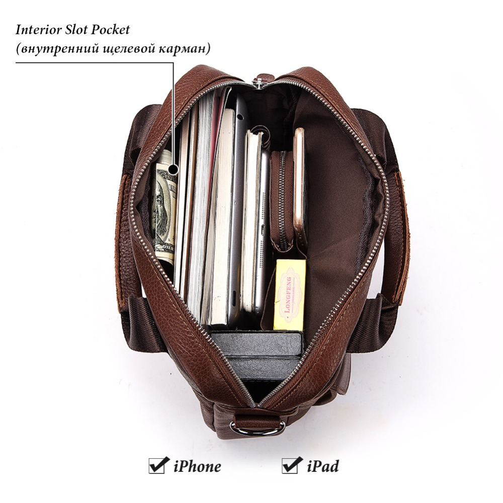 Image 3 - KAVIS 2019 New Cowhide Genuine Leather Messenger Bag Small 