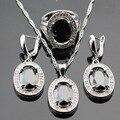 Conjuntos de Jóias Para As Mulheres de Cor prata Oval Sapphire Black Criado Branco CZ Pendente/Colar/Brincos/Anéis Livre Caixa de presente