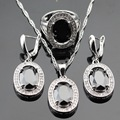 Silver Color Jewelry Sets For Women Oval Black Created Sapphire White CZ Pendant/Necklace/Earrings/Rings Free Gift Box