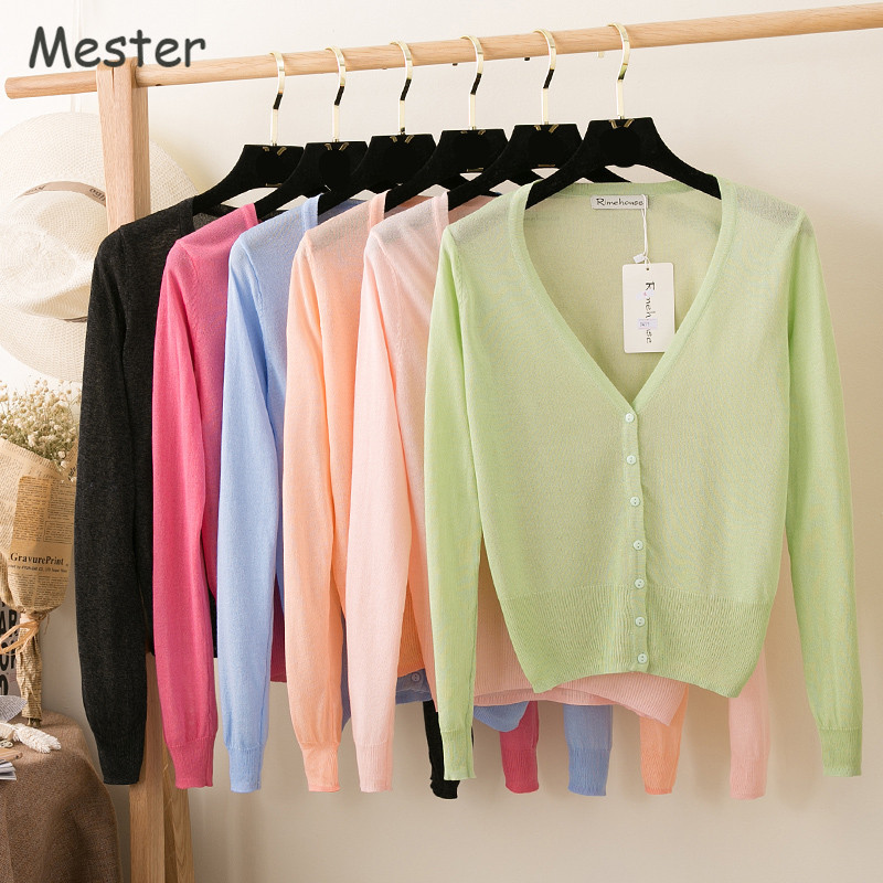 Women Candy Color Thin Knitted Cardigan Summer V Neck Long Sleeve Silk Cardigan Casual Loose Sun Protection Shirt Sheer Shrugs