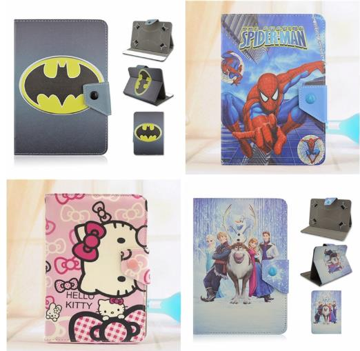 Batman Spider man Hello Kitty Anna Elsa Cartoon PU Leather Stand Cover Case Universal 10Inch Cartoon Tablet Case universal 7 inch anna elsa zootopia crazy animal city cartoon pu leather stand cover case for 7 tablet p3100 t110 t230