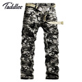 Europe Size Man Men's Cotton Combat Multi-Pockets Casual Loose Long Full Length Cargo Pants Khaki Work Trousers Camouflage