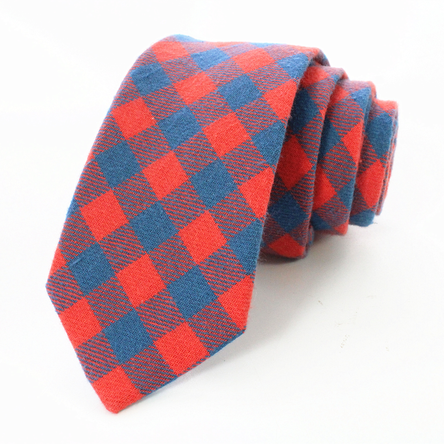 JEMYGINS Original Men's 8cm Classic Plaid Cashmere Wool Tie Handmade Men's Tie Red Yellow Blue Party Wedding Suit Neck Tie