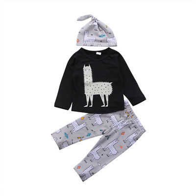 3Pcs Newborn Toddler Baby Alpaca Set Clothes 0-24M 1