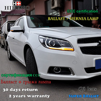 Hireno Headlamp For 2012 2013 2014 Chevrolet Malibu Headlight Assembly LED DRL Angel Lens Double Beam